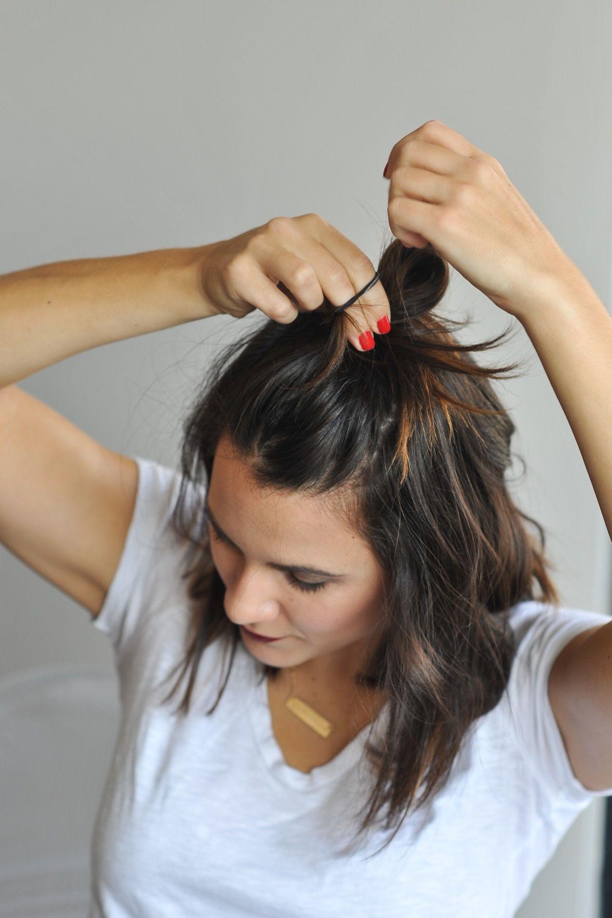 How To Do The Half Top Knot On Short Hair My Style Vita Short Hair Top Knot Short Hair Styles Short Hair Bun