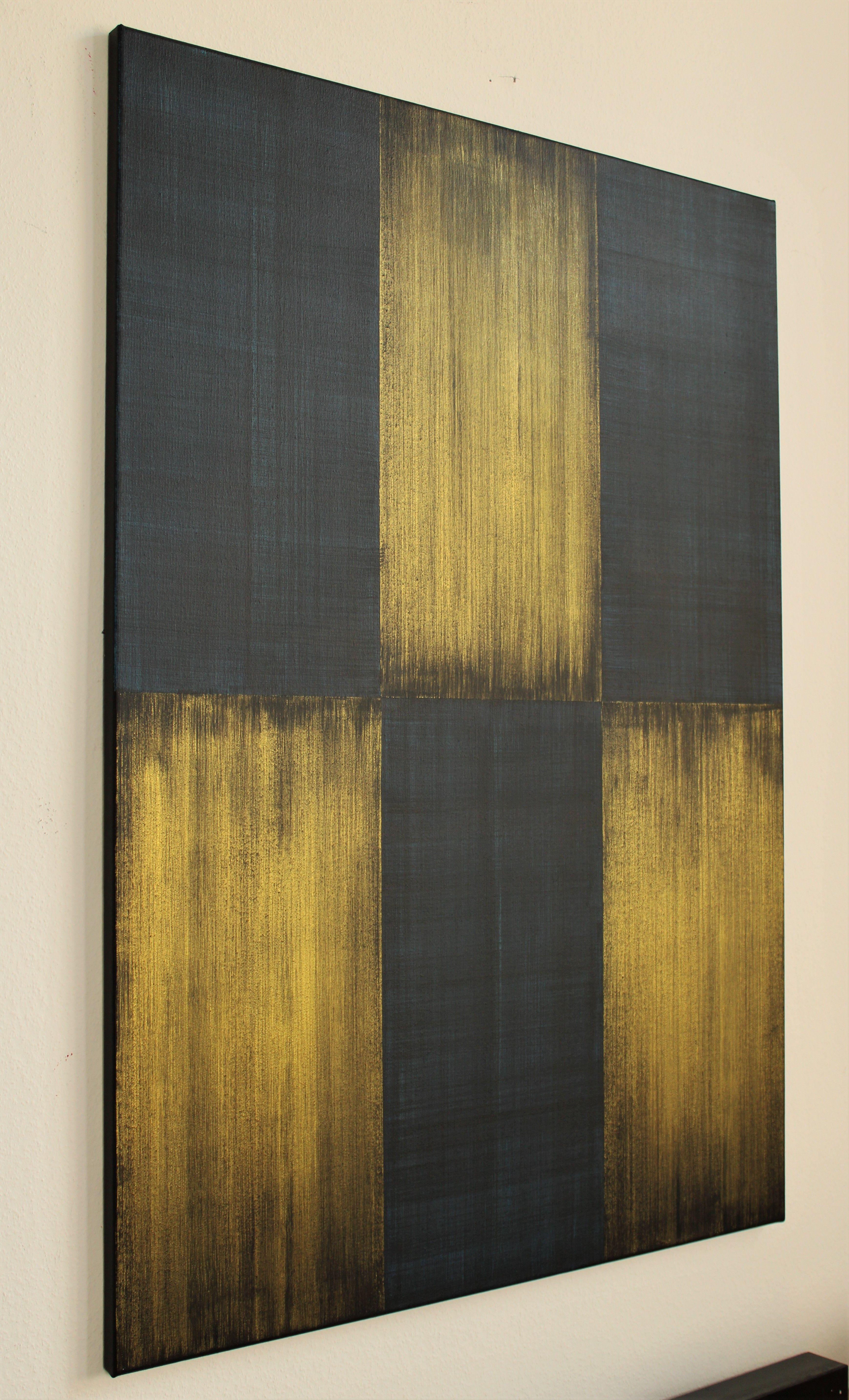 vertikal 2 acryl auf leinwand gold blau schwarz abstrakt streifen kunst moderne bilder idee farbe acrylmalerei abstrakte künstler malerei