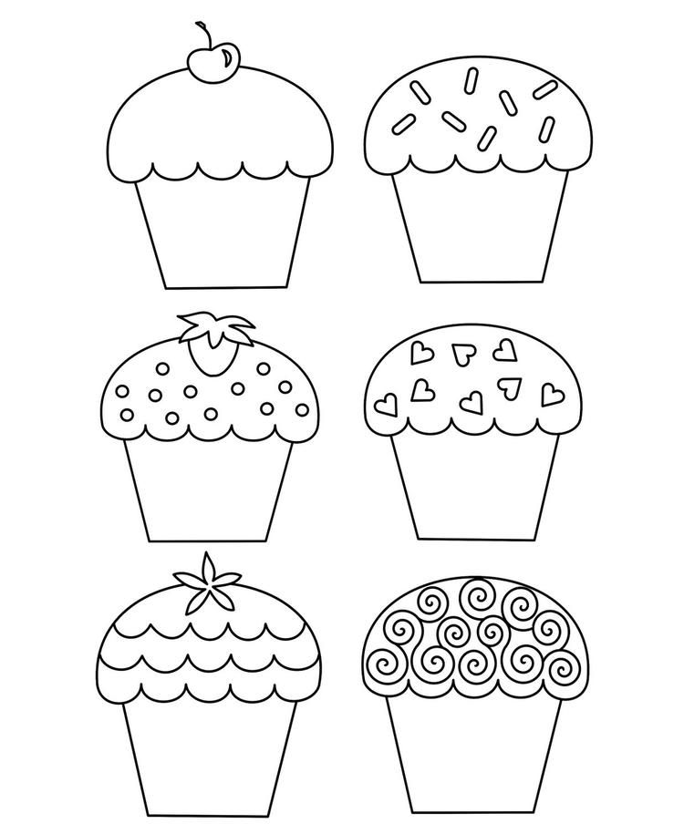 Models Happy Birthday Cupcake Coloring Pages | Cupcake ...