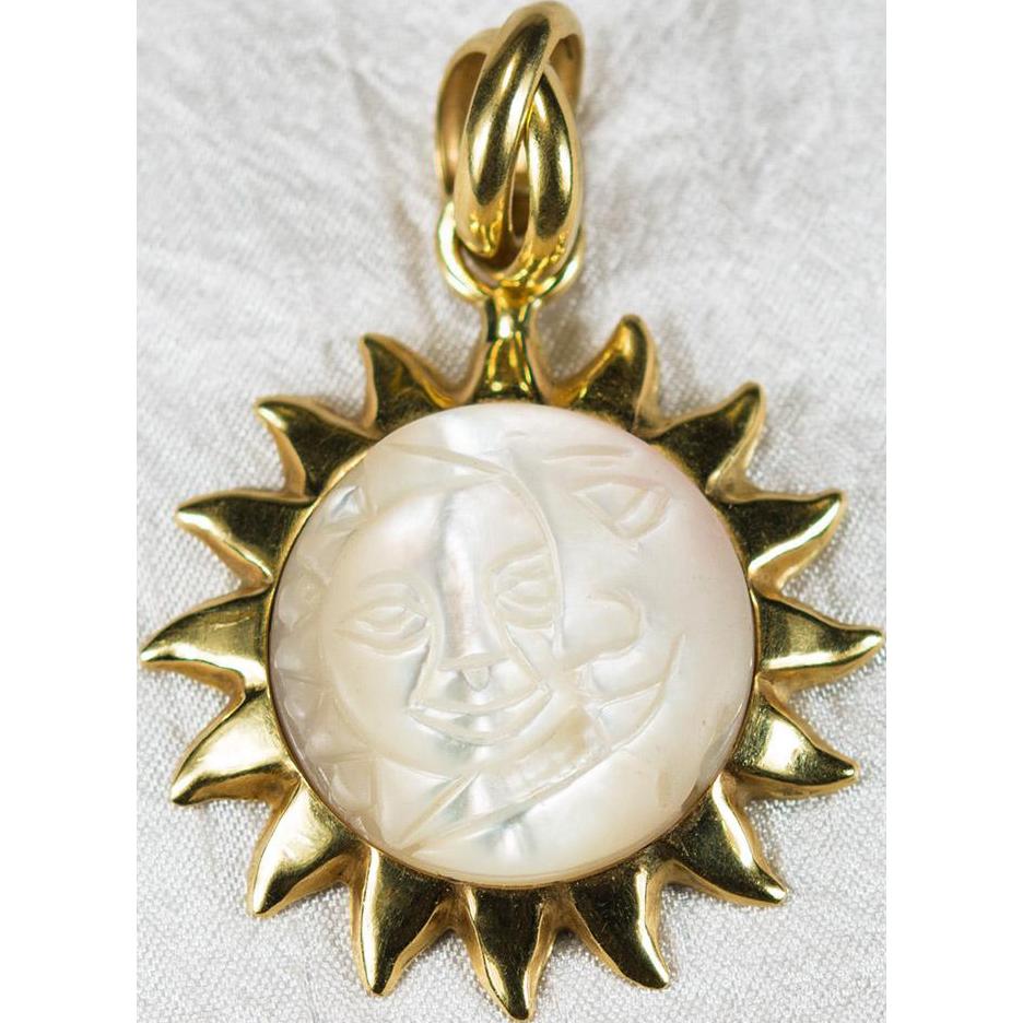 Sterling Silver Antiqued Sun /& Half Moon Face Pendant