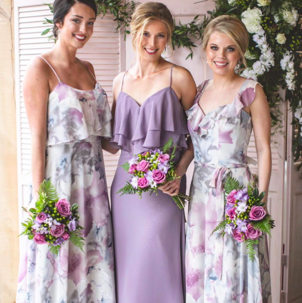 Lavender And Purple Floral Flounced Mix And Match Bridesmaid Dresses By Floral Bridesmaid Dresses Long Patterned Bridesmaid Dresses Lavender Bridesmaid Dresses