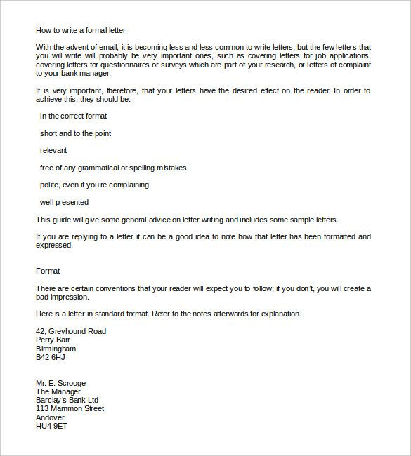 Formal Letter Template Free Word Pdf Documents Download Letters