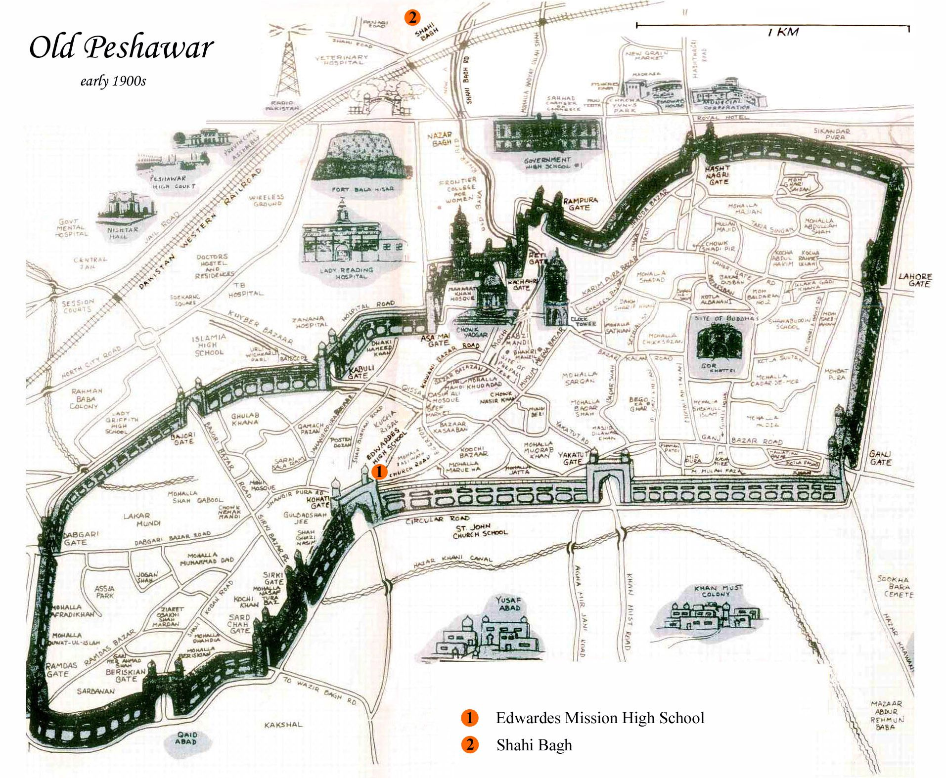 Map of Old Peshawar - Early 1900s