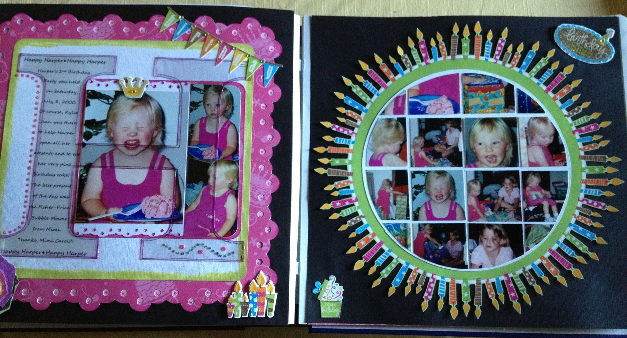 Scrapbook ideas many pictures - Scrapbook 2 Page Layout For Birthday Party With Many Candles