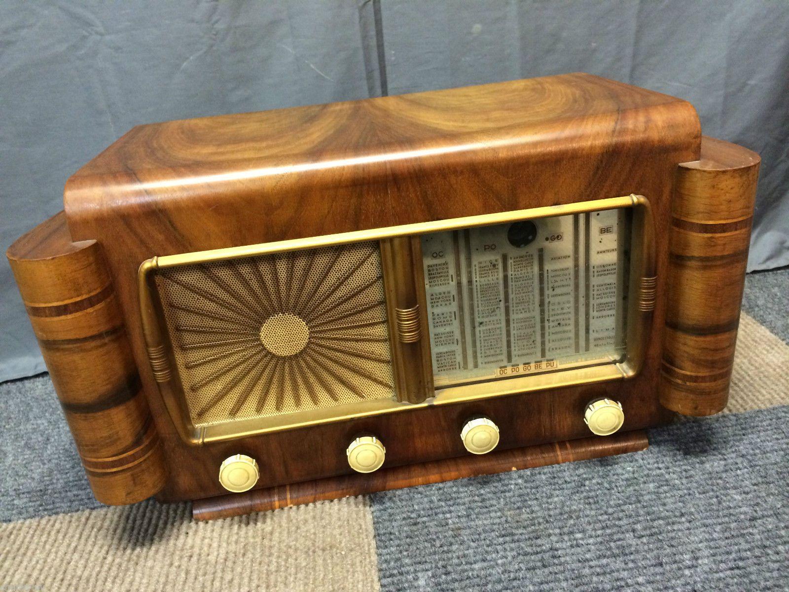 Rare Vintage Antique 40 50s French Shortwave War Musicalpha Speaker Tube Radio Ebay Vintage Radio Antique Radio Retro Radios