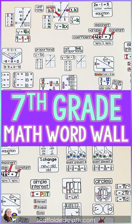 7th Grade Math Word Wall Math word walls, Math words