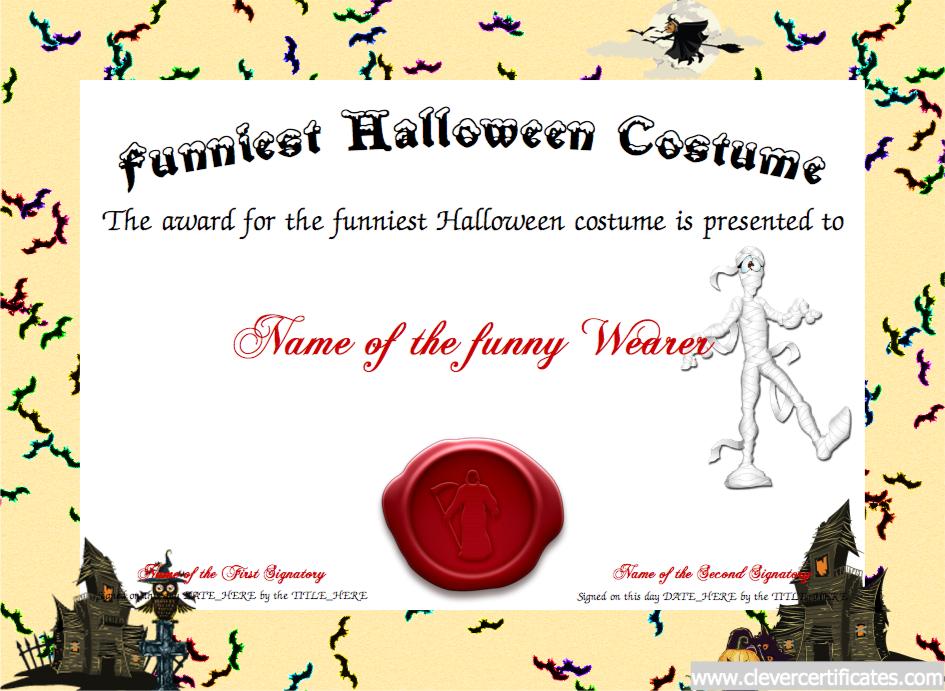Funniest Costume Certificate Designer Free Halloween Templates