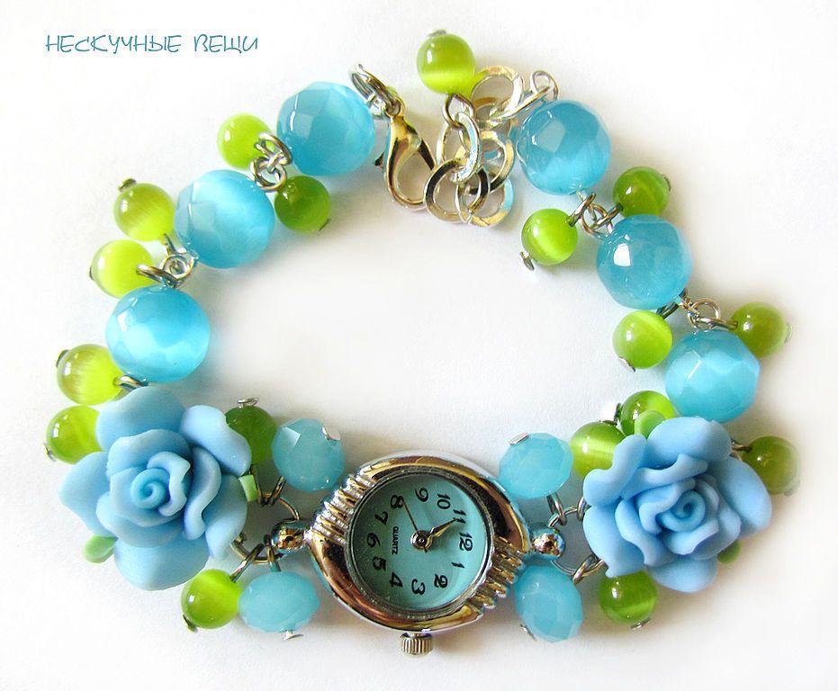 """Купить Часы """"Голубые розы"""" - часы, часы наручные, женская сумка, наручные часы, голубой"""