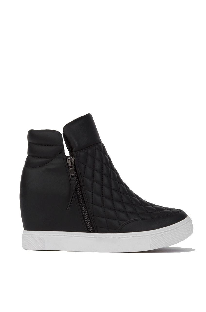 Steve Madden LINQS | Quilted Leather Shoes | Black Platform Sneakers |  Wedged Sneakers | Sneaker