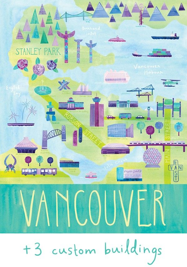 Customized Illustrated Vancouver Map 24 X 30 By Marisamidori 25000
