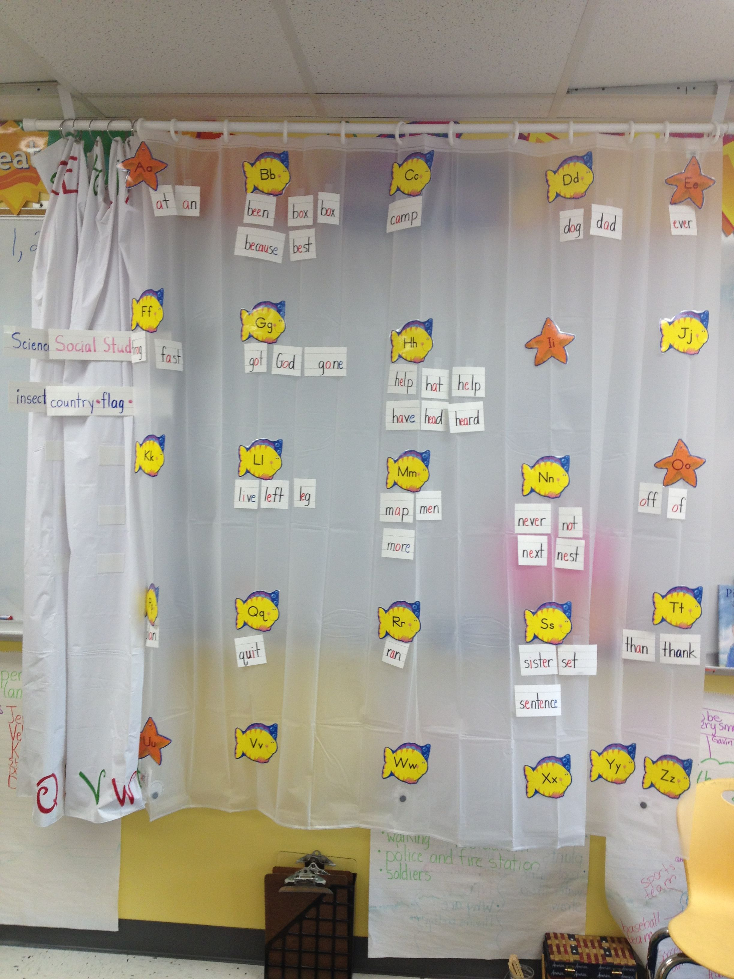 Retractable Word Wall To Save Wall Space I Used A Shower Curtain