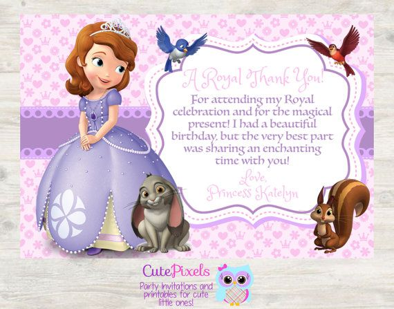 Princess Sofia Thank You Card Sofia The First Thank By Cutepixels