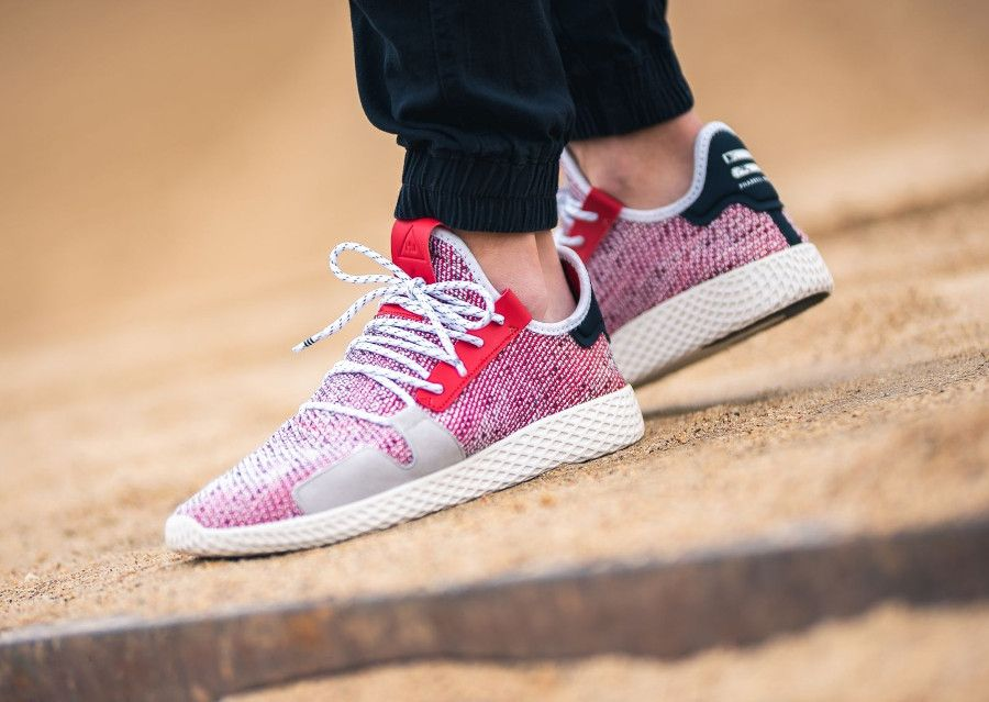 d5f30bde780f6 Pharrell Williams x Adidas Afro Tennis HU Scarlet Black on feet ...