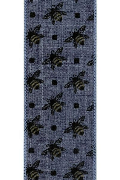 linen w/ honey bee, blue