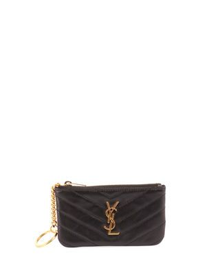 2e26352737c8 Saint Laurent Loulou Monogram YSL Mini Quilted Leather Zip Pouch with Key  Ring - Golden Hardware