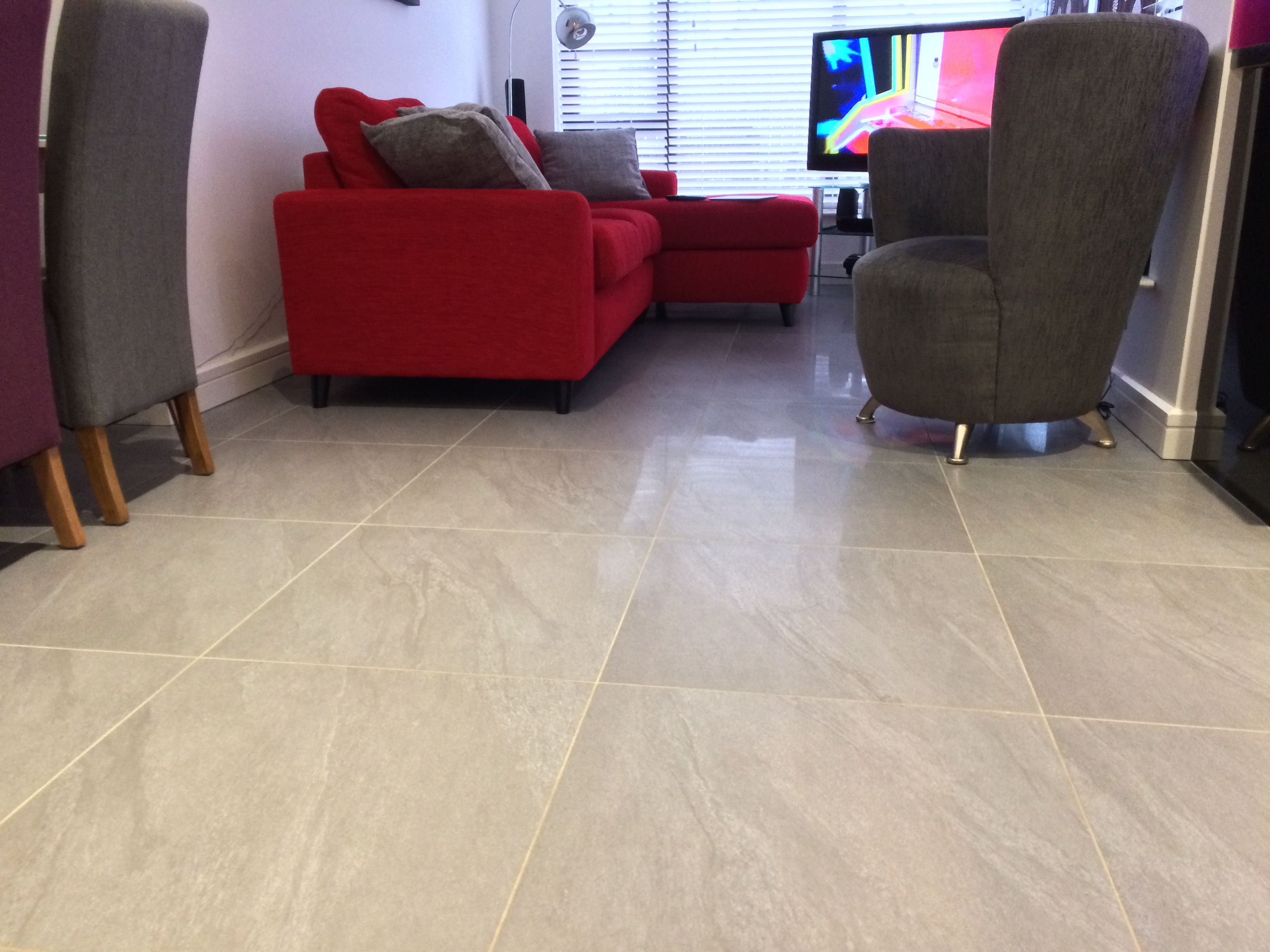 Beau Grey Polished Floor Tiles In Kitchen And Living Area.