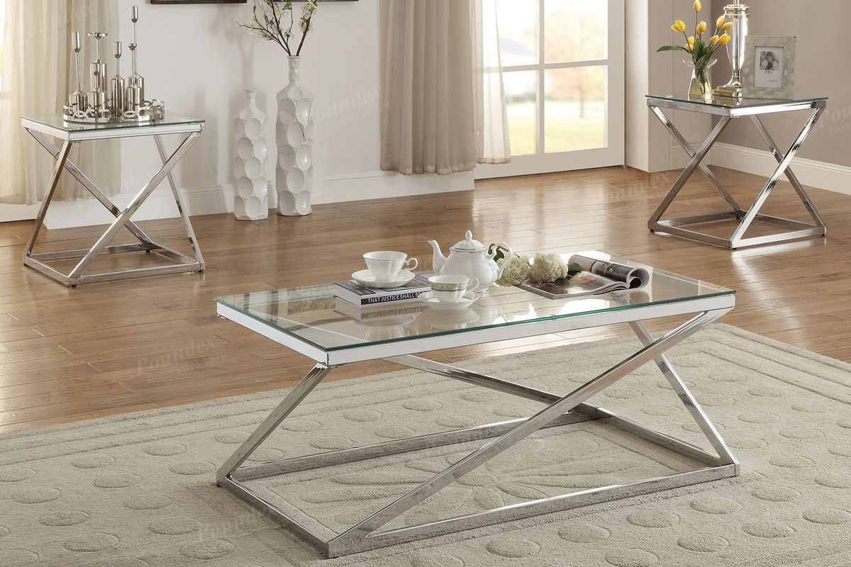 Poundex 3 Pcs Coffee End Table Set F3114