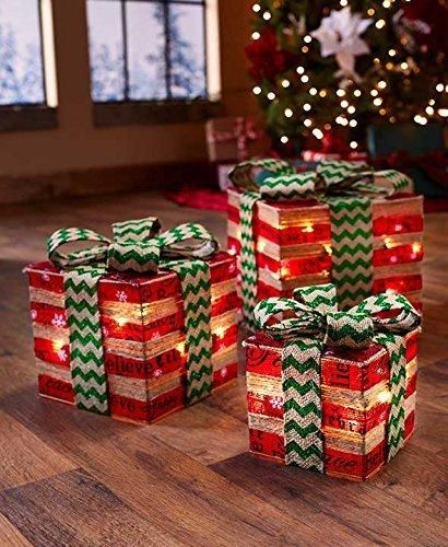Lighted Gift Box Decor (Red & Green)