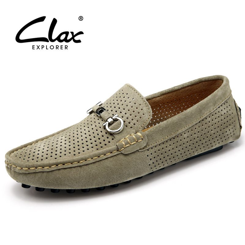 Clax Men's Summer Shoes 2017 Designer Flats Loafers for Male Hollow  Breathable Suede Leather Casual Shoe