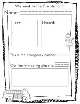 Fire Prevention Week Response Sheet And Planning Paper To Use At