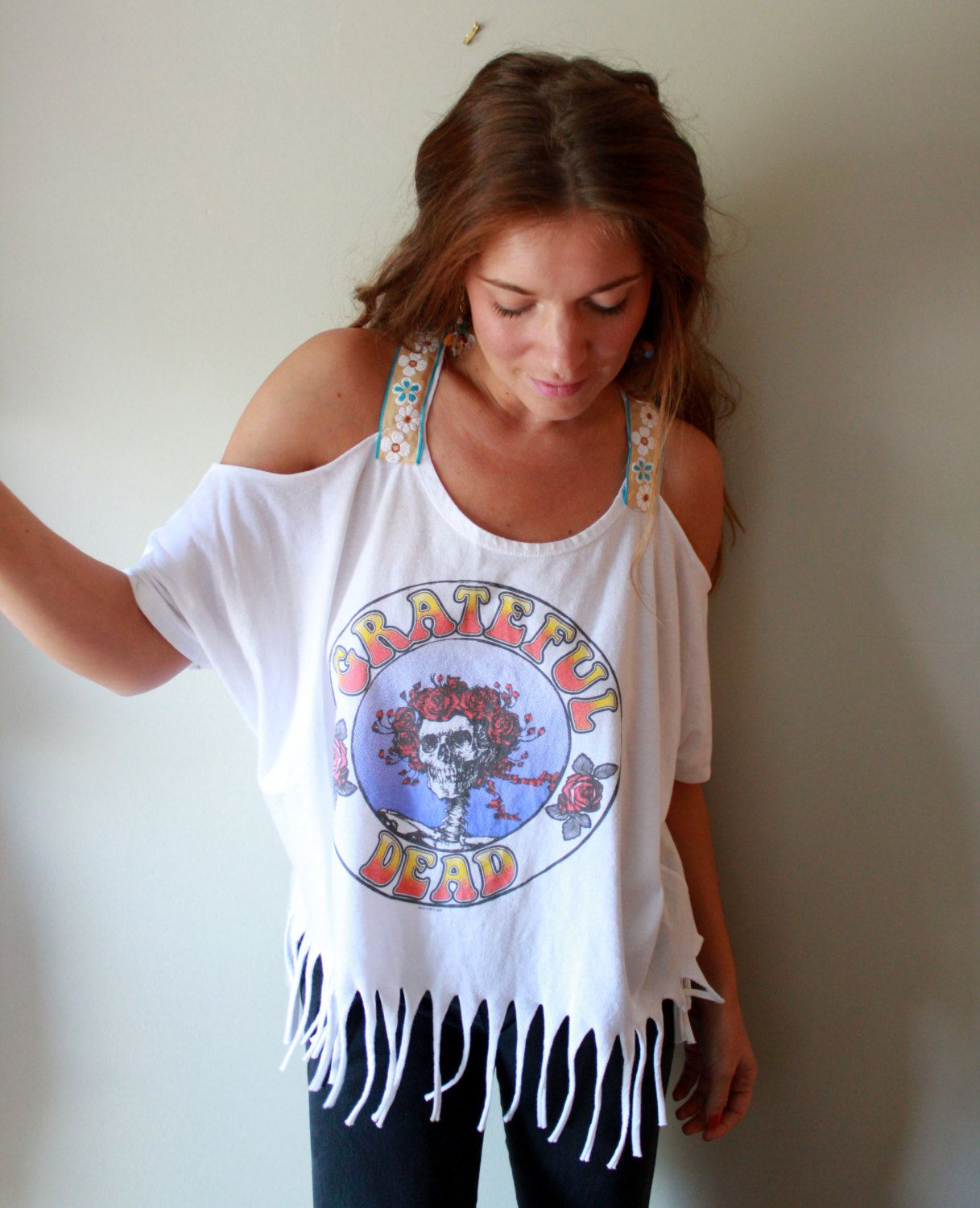 02cf37fb92c74 Fringe Cut Out Shoulder Off The Shoulder Grateful Dead Bertha ...