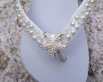 e3e3bf335c34 Summer Wedding flip flops Bridal flip flops by AdrianaSantosBridal ...