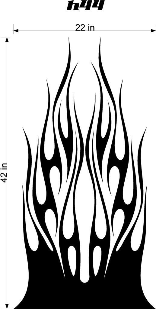 auto truck car hood flames stickers graphics decals hh44