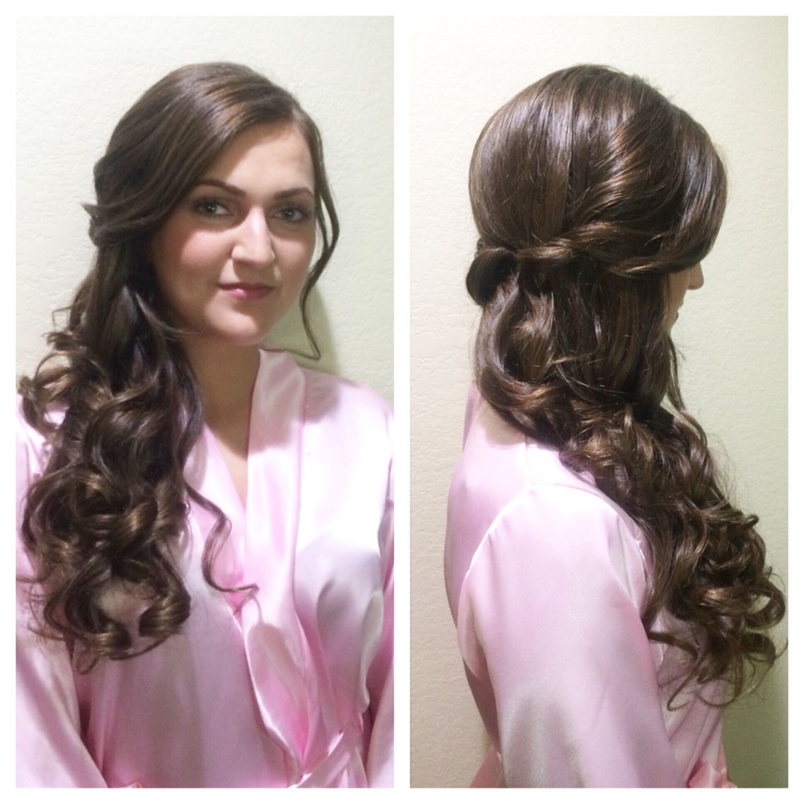 side swept bridal hair. great for bridesmaids. long hair for
