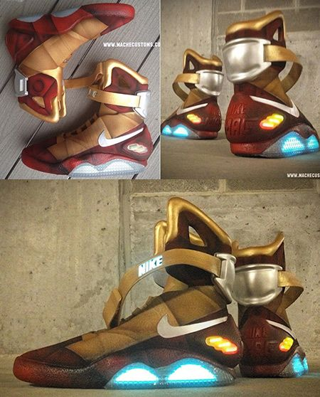 884c9cc0805 The Iron Man Nike MAGs are a one-off custom job made by custom shoe wizard  Mache. He gave the retro future grey upper a paint job to match the red and  gold ...