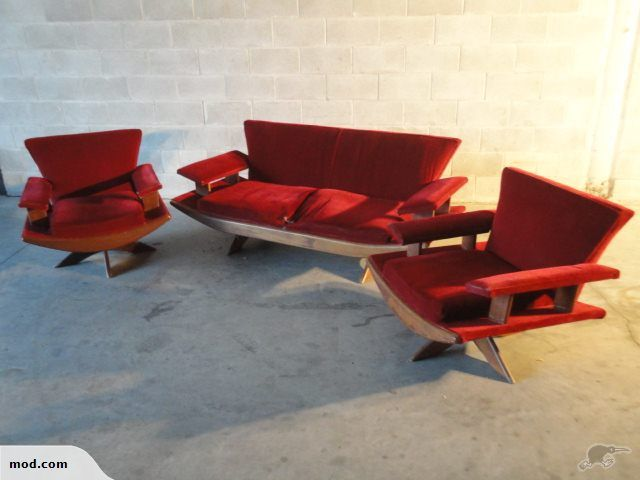 Remarkable A Rare Mid Century Nz Banana Lounge Suite 1950S Trade Beatyapartments Chair Design Images Beatyapartmentscom