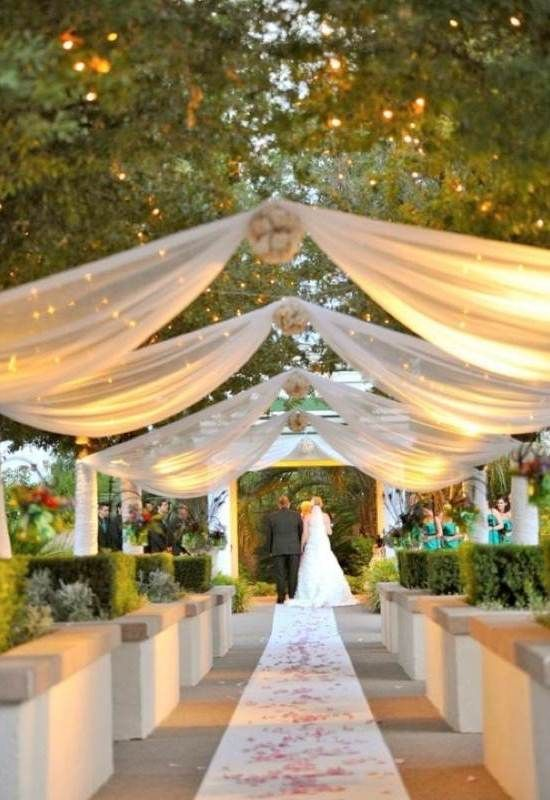 Outdoor reception ideas design with small lamps for for Simple wedding decorations for reception