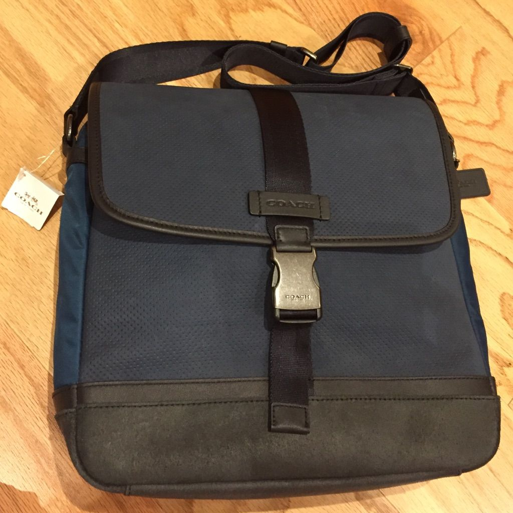 Coach Indigo Blue Map Bag Book Bag Shoulder