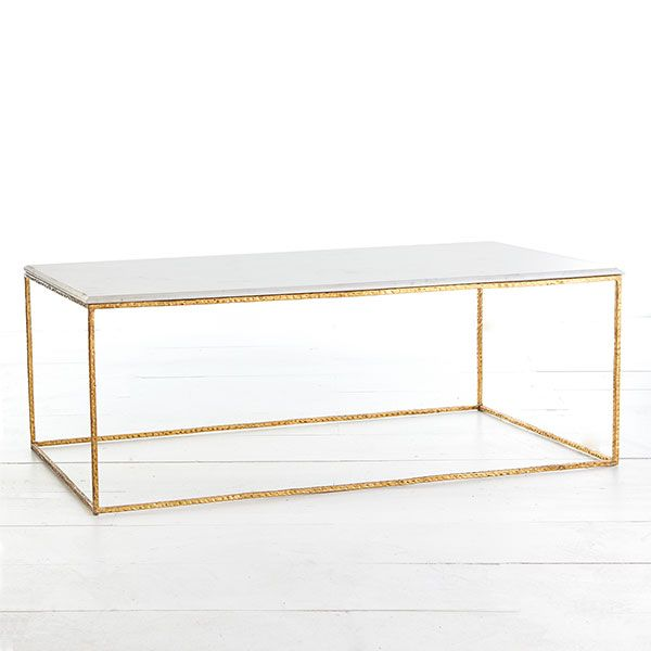 Buy White Marble And Gold Rectangular Coffee Table From: Coffee Tables