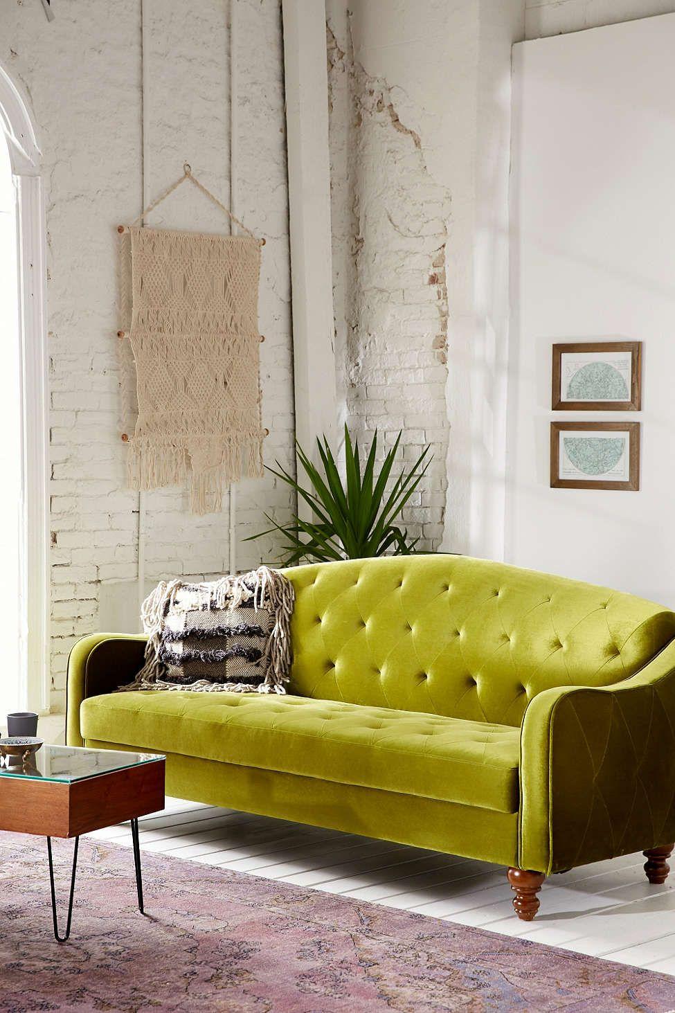 Ava Velvet Tufted Sleeper Sofa Daybed In Living Room Retro Sofa