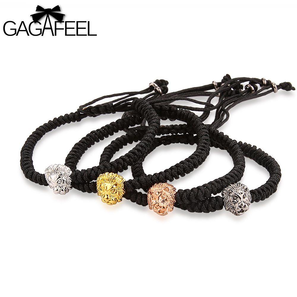 GAGAFEEL Lion Head Bracelet Women Men Bracelets Animal Jewelry Weaving Bohemia Design Watch Charm Bangles Chains Accessories