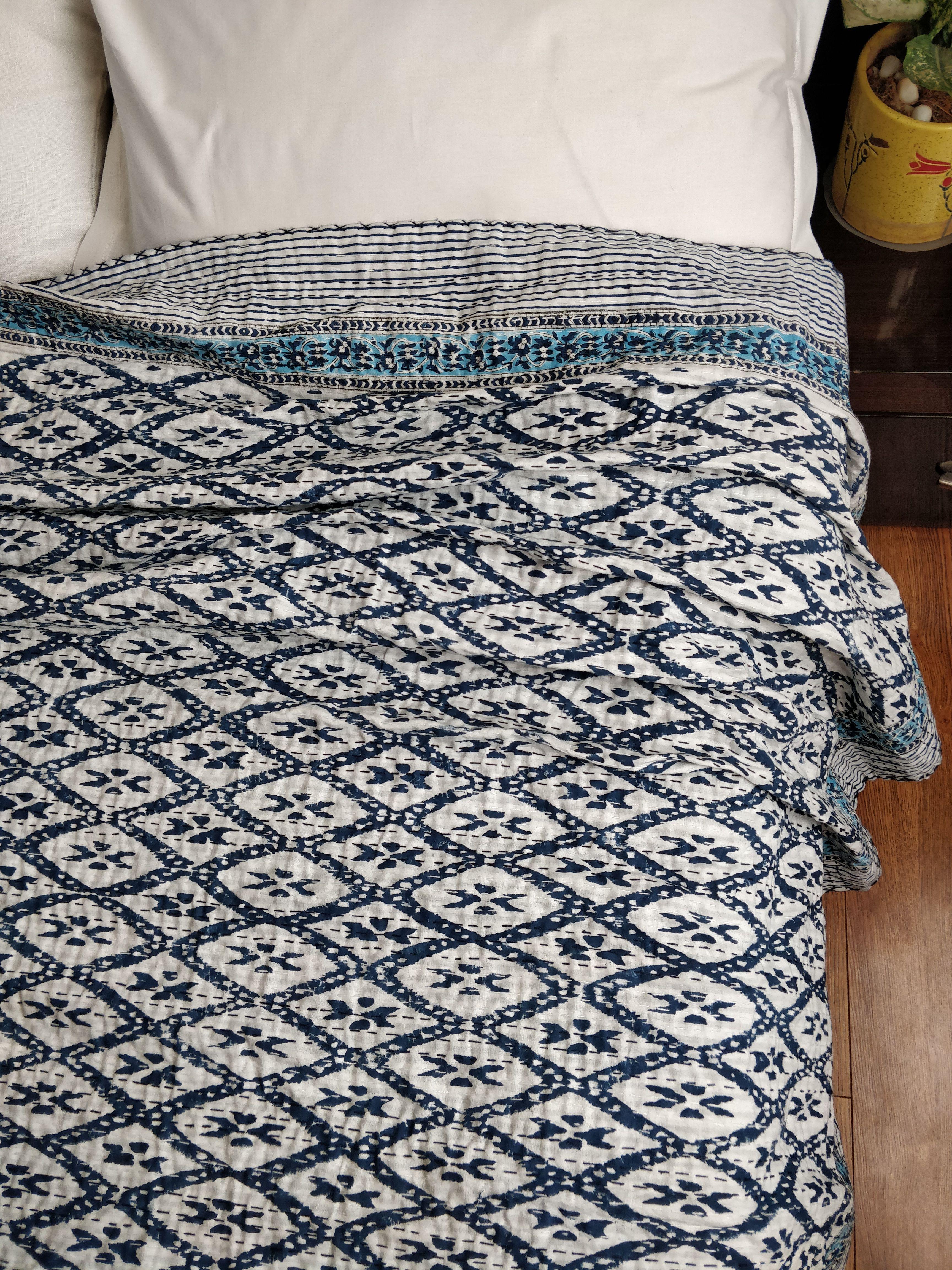 Indian Handmade Kantha Quilt Reversible Hand Block Printed Quilt Bedspread Throw Cotton Blanket