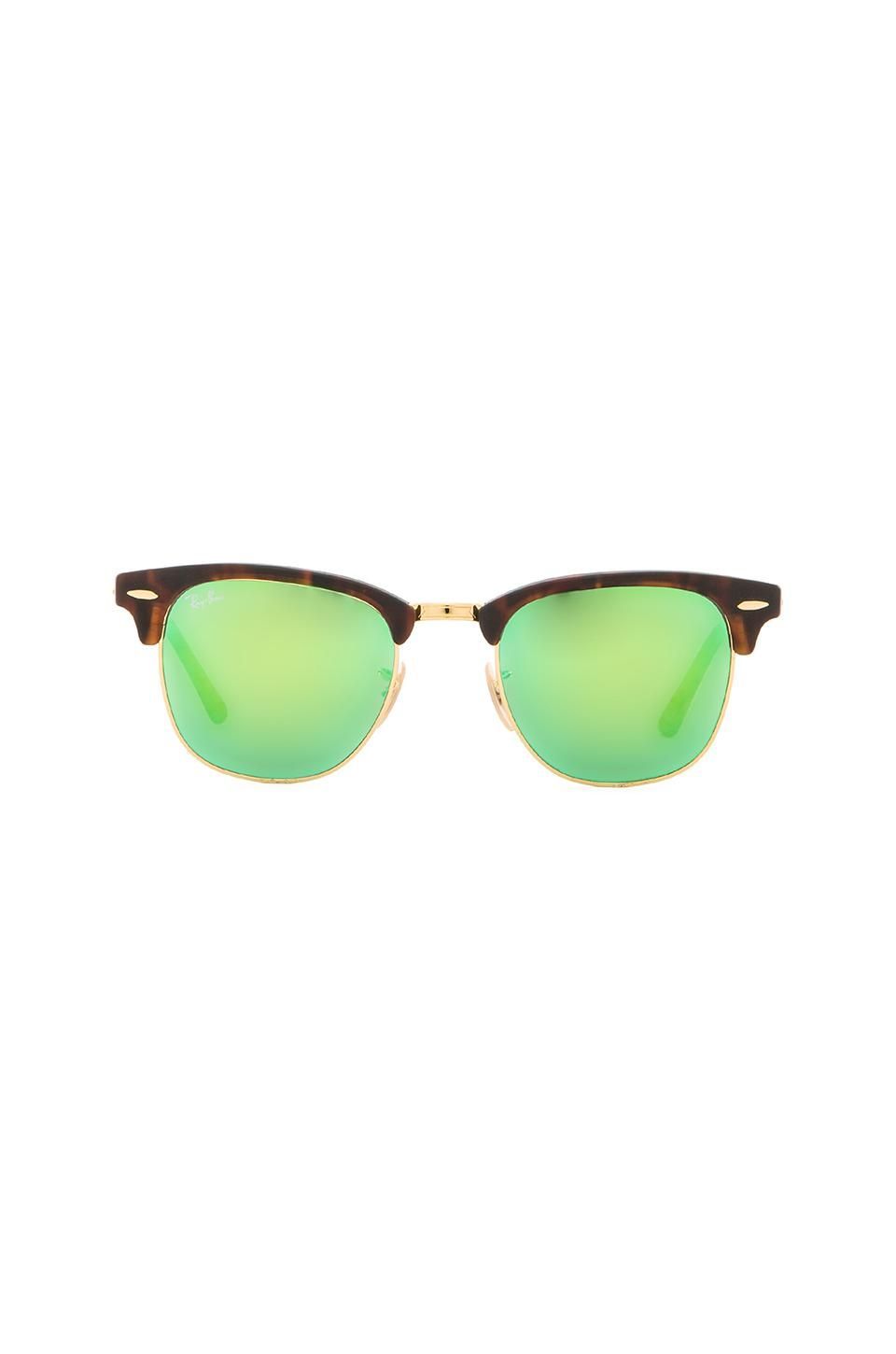 ec7a4e98d057e Ray-Ban Clubmaster Flash Lenses in Tortoise   Green Flash   LOOKS WE ...