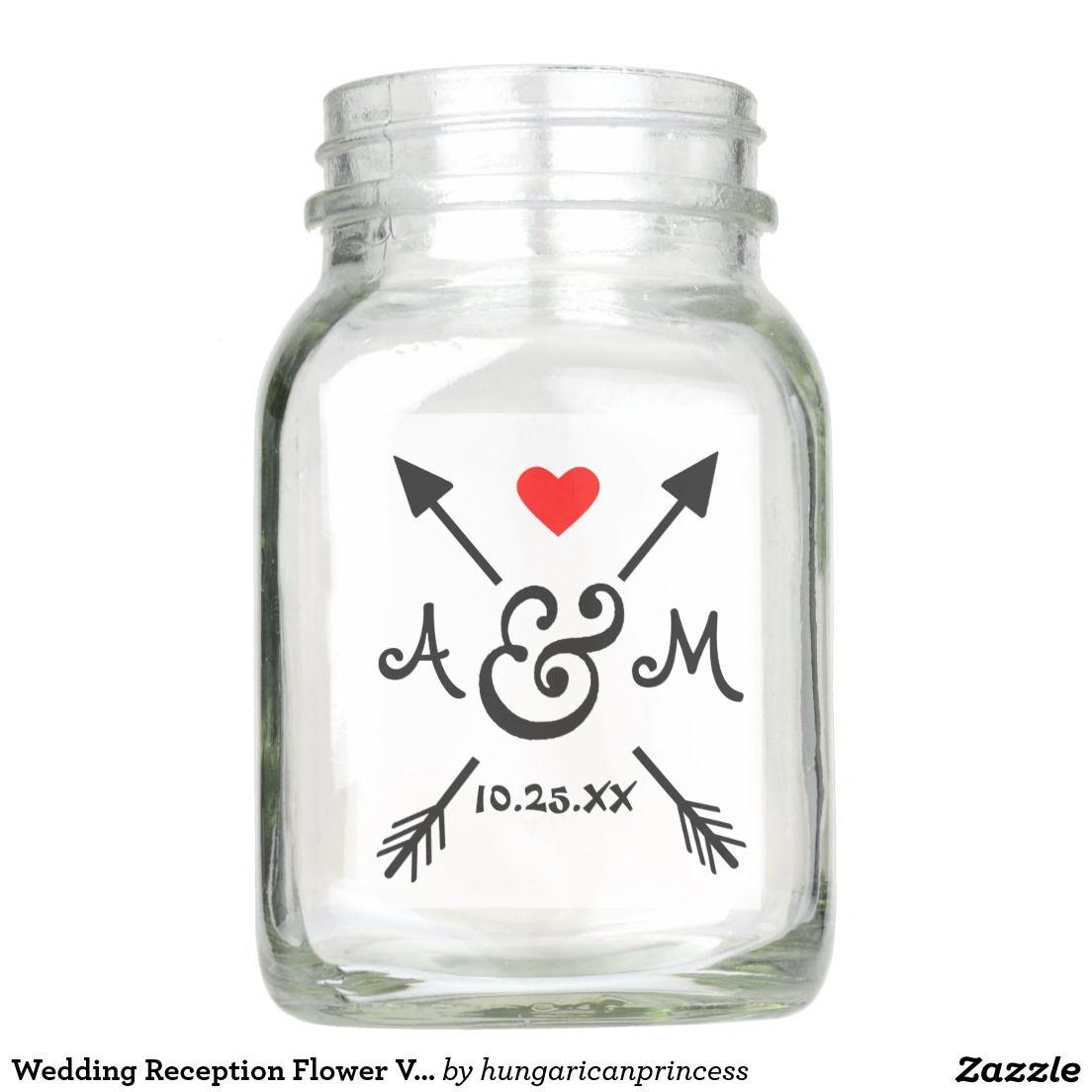 Wedding Reception Flower Vase Arrows Monogrammed Mason Jar ...