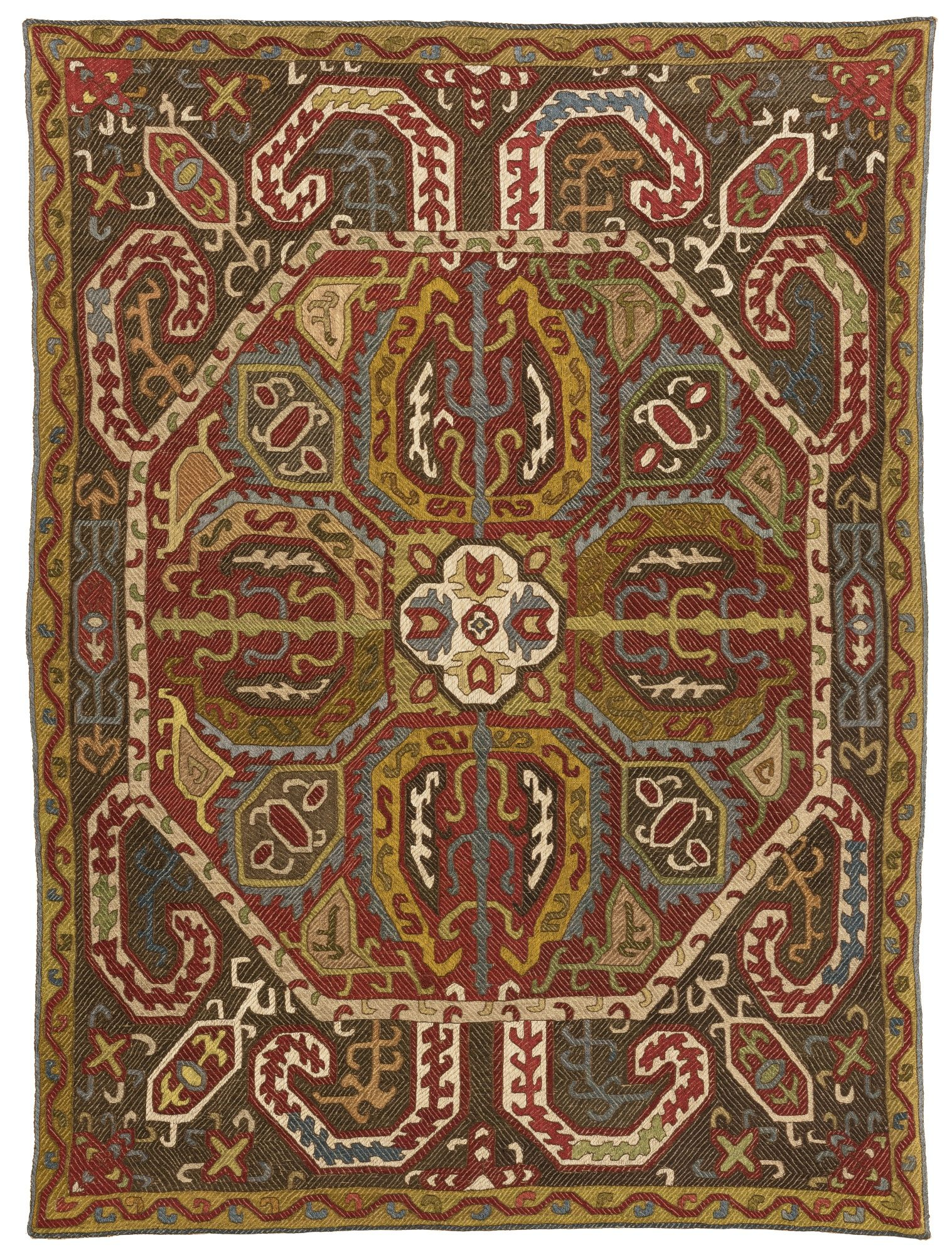 Azerbaijan silk embroidered in satin and running stitches th c