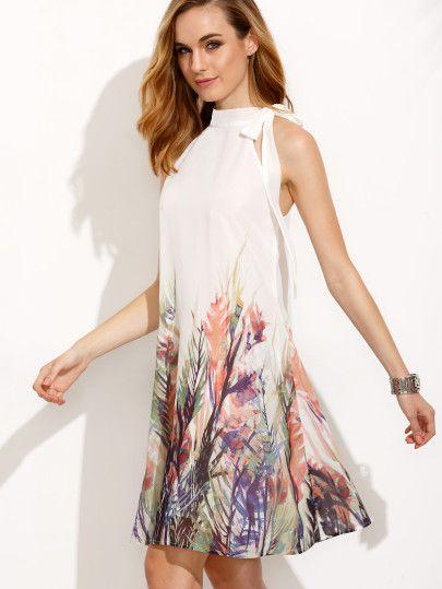 A-Linien Kleid ärmellos mit Druck Schleife und hohe Taille - bunt ...