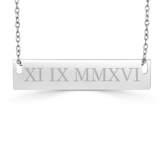 Zales 25.0mm Vertical Date Bar Necklace in Sterling Silver (1 Date) O7TWFq