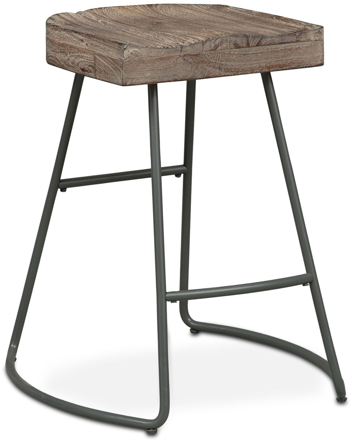 Western Cool. Jump on the saddle seat and enjoy fine living with the Foundry counter-height stool. This unique seating features round jet black steel tube legs contrasting with a dark-finished top, constructed of solid acacia and oak wood. Customer assembly required.
