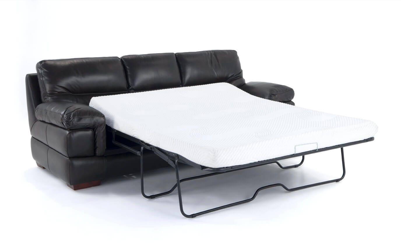 Carter Leather Queen Sleeper With Bob O Pedic Gel Memory Foam Mattress
