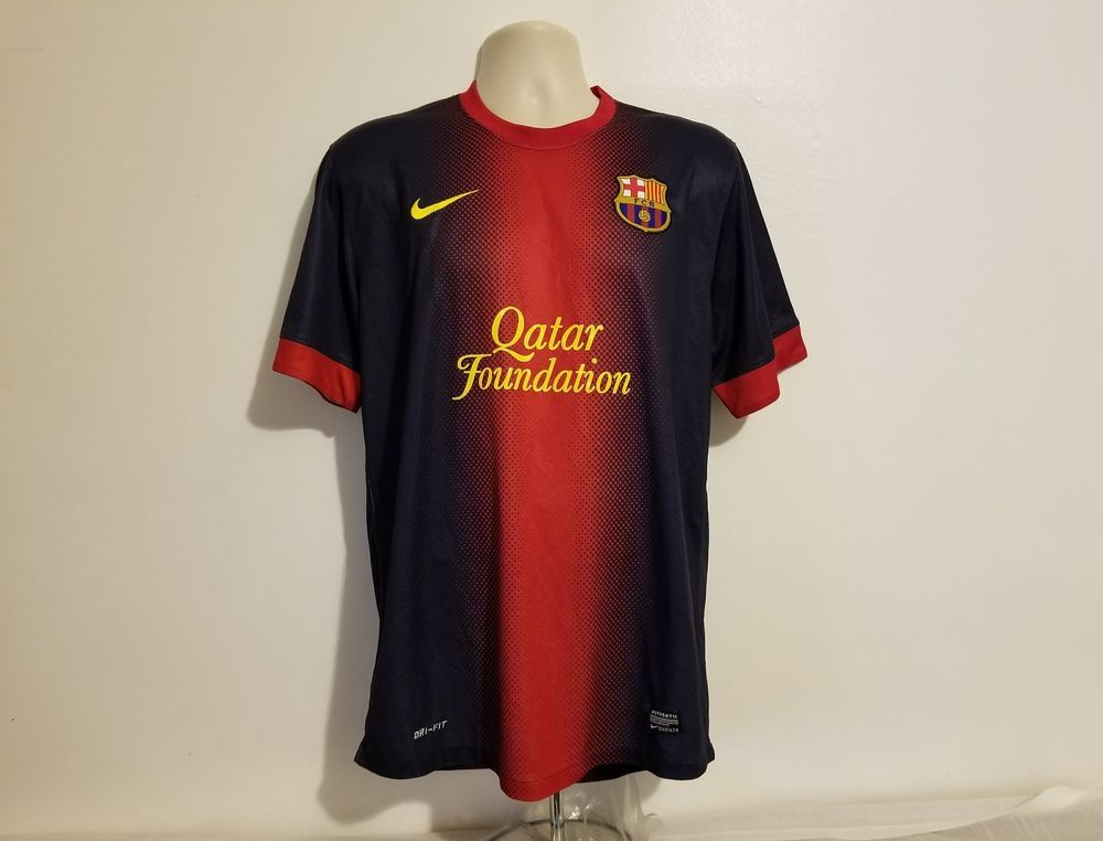 843d5df9c66 Nike Qatar Foundation FCB Messi 10 Unicef Mens Black & Red XL Jersey #Nike # FCBarcelona. Find this Pin and more on Football ...