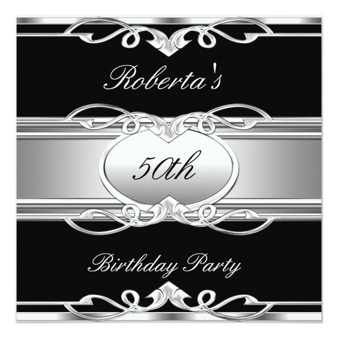 Elegant 50th birthday party black silver 50 525x525 square paper elegant 50th birthday party black silver 50 525x525 square paper invitation card stopboris Image collections