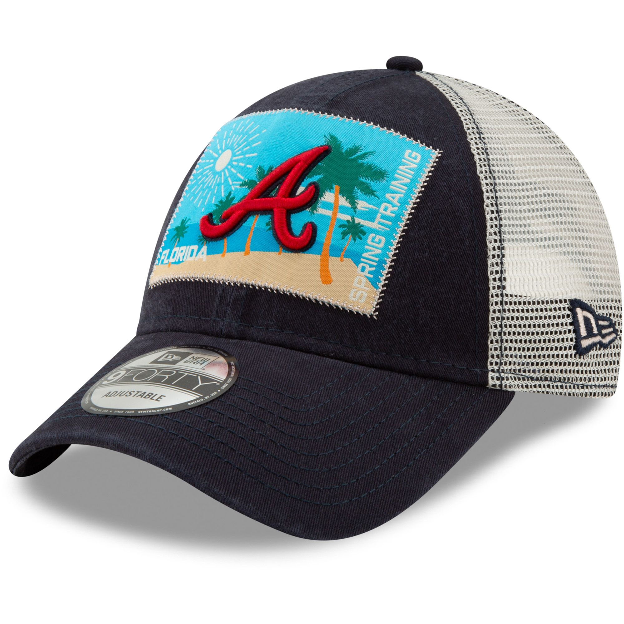c6178f857b4 Men s Atlanta Braves New Era Navy Patched Trucker 3 9FORTY Adjustable  Snapback Hat