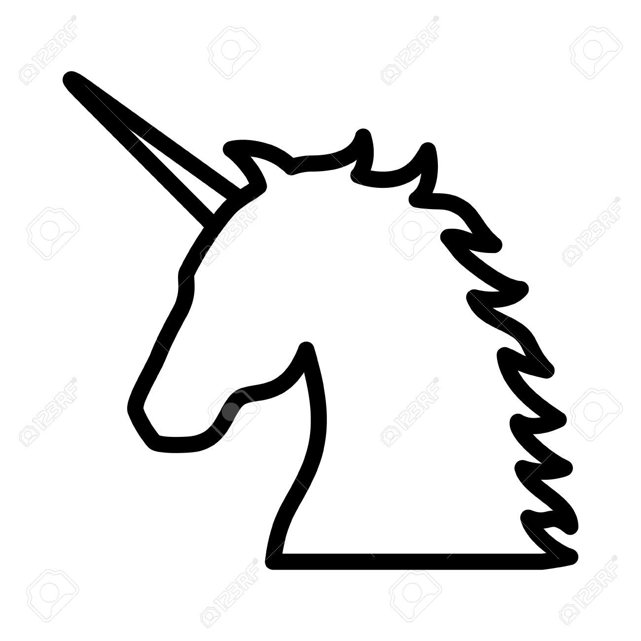 Line Art App : Unicorn legendary mythical creature line art icon for