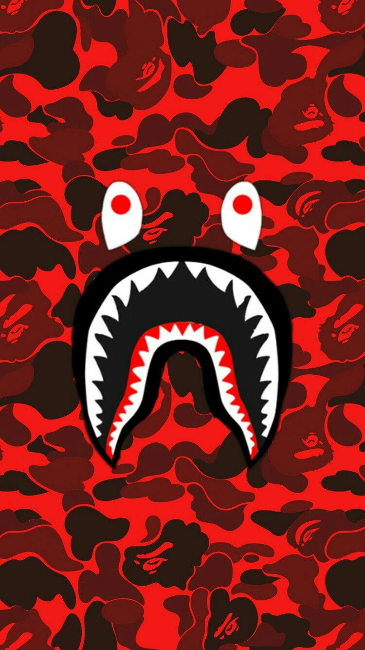 Bape Shark Face Red Camo In 2019 Bape Wallpapers Bape