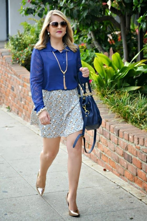 Darling Navy Blouse, @James Richter patterned skirt, @ShoeDazzle rose gold wedges, @J.Crew navy mini brompton bag, @siramara chain bracelet, gold tassel necklace