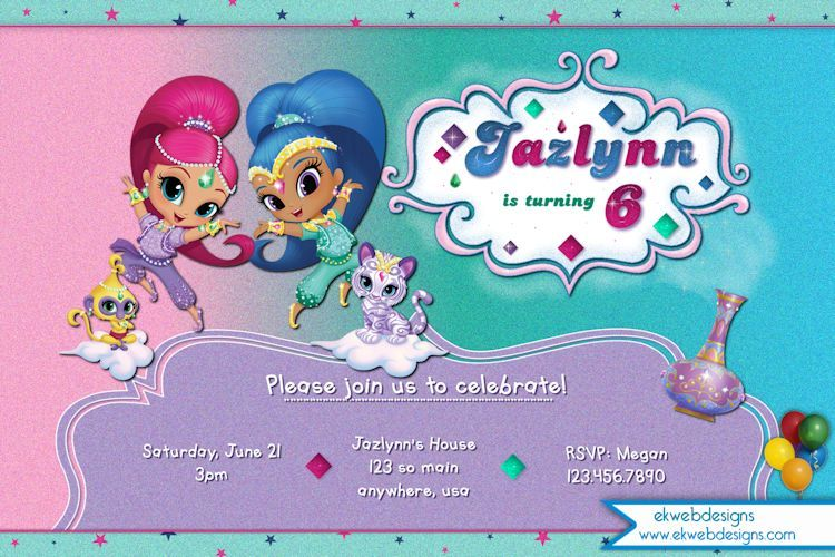 Shimmer and shine birthday invitation nick jr shimmer and shine shimmer and shine birthday invitation nick jr shimmer and shine invitation filmwisefo Images